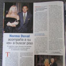 Coleccionismo de Revista Pronto: RECORTE REVISTA PRONTO N.º 1538 2001 NORMA DUVAL. Lote 276163138