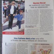 Coleccionismo de Revista Pronto: RECORTE REVISTA PRONTO N.º 1537 2001 NORMA DUVAL. Lote 276163503