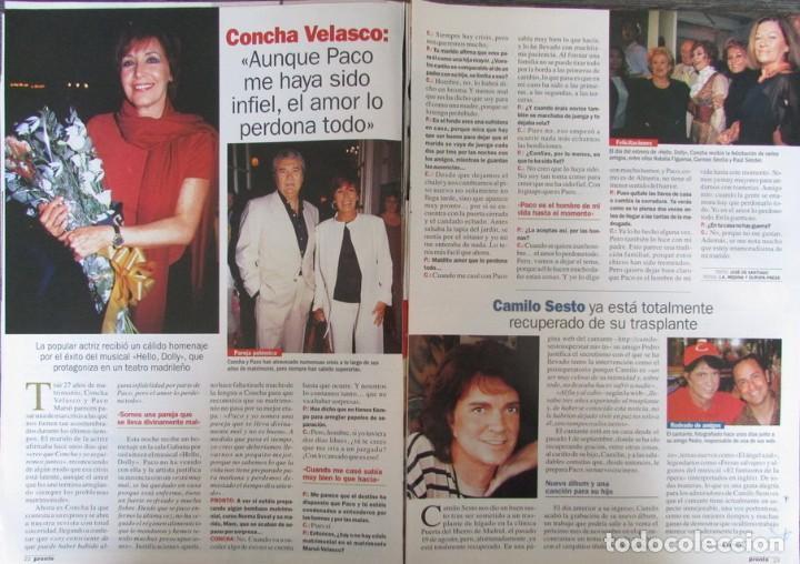 RECORTE REVISTA PRONTO N.º 1537 2001 CONCHA VELASCO, CAMILO SESTO. (Papel - Revistas y Periódicos Modernos (a partir de 1.940) - Revista Pronto)