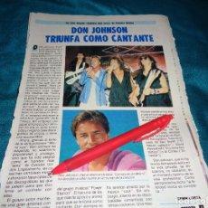 Coleccionismo de Revista Pronto: RECORTE : DON JOHNSON TRIUNFA COMO CANTANTE. PRONTO, AGTO 1986(#). Lote 277560343