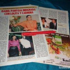 Coleccionismo de Revista Pronto: RECORTE : ISABEL PANTOJA INDIGNADA CON LOLITA Y CARMINA. PRONTO, SPTMBRE 1986(#). Lote 277561623