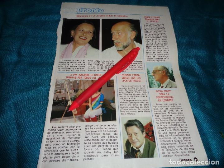 RECORTE : LUCIA BOSÉ. EVA NASARRE. VICENTE PARRA. PRONTO, ABRIL 1984 (#) (Papel - Revistas y Periódicos Modernos (a partir de 1.940) - Revista Pronto)