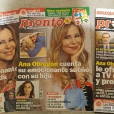 Coleccionismo de Revista Pronto: LOTE 5 REVISTAS PRONTO AÑO 2021 BIOGRAFÍA ANA OBREGÓN POR CAPÍTULOS. COMPLETO. Lote 286912333