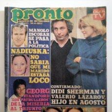 Coleccionismo de Revista Pronto: REVISTA PRONTO 257 AÑO 1977 NADIUSKA, MANOLO ESCOBAR, ETC INCLUYE POSTER DE STEVE FORREST. Lote 291581118