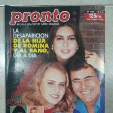 Coleccionismo de Revista Pronto: ANTIGUA REVISTA PRONTO DE LOS AÑOS 90 NÚMERO.1136. HIJA DE ROMINA Y ALBANO. Lote 292084463