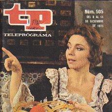 Coleccionismo de Revista Teleprograma: REVISTA TELEPROGRAMA Nº 505. Lote 37315255