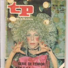 Coleccionismo de Revista Teleprograma: TP. TELEPROGRAMA. Nº 480. SERIE DE TERROR. JUNIO 1975. (P/D44). Lote 54790811