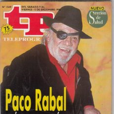 Collectionnisme de Magazine Teleprograma: REVISTA TP TELEPROGRAMA Nº 1549 AÑO 1995. PACO RABAL. LA OFICINA.. Lote 61607184