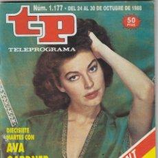 Coleccionismo de Revista Teleprograma: REVISTA TP TELEPROGRAMA Nº 1177 AÑO 1988. AVA GARDNER. . Lote 61735916