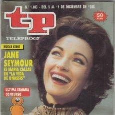 Coleccionismo de Revista Teleprograma: REVISTA TP TELEPROGRAMA Nº 1183 AÑO 1988. JANE SEYMOUR. LA VIDA DE ONASSIS. . Lote 61898640