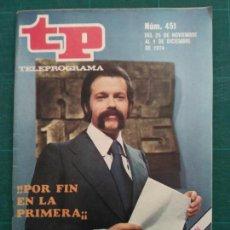 Colecionismo da Revista Teleprograma: REVISTA TP TELEPROGRAMA N. 451 NOVIEMBRE 1974. Lote 88330856