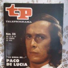 Coleccionismo de Revista Teleprograma: REVISTA TP TELEPROGRAMA Nº 516 PAACO DE LUCIA. Lote 133962734