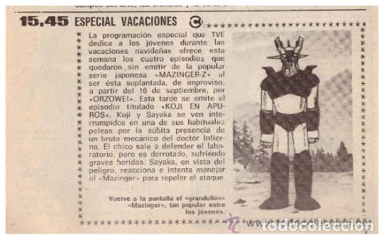 Coleccionismo de Revista Teleprograma: Revista Teleprograma TP, nº 665 (del 1 al 7 de enero 1979) - Con programacion 5 episodios Mazinger Z - Foto 3 - 136072322
