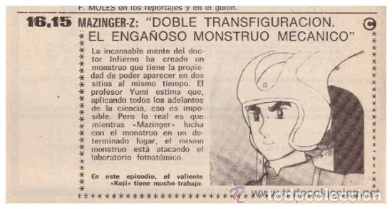 Coleccionismo de Revista Teleprograma: Revista Teleprograma TP, nº 665 (del 1 al 7 de enero 1979) - Con programacion 5 episodios Mazinger Z - Foto 4 - 136072322