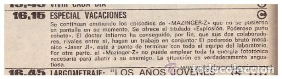 Coleccionismo de Revista Teleprograma: Revista Teleprograma TP, nº 665 (del 1 al 7 de enero 1979) - Con programacion 5 episodios Mazinger Z - Foto 5 - 136072322