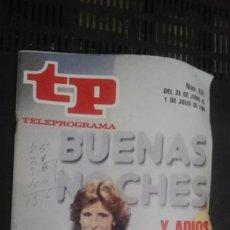 Coleccionismo de Revista Teleprograma: REVISTA TP TELEPROGRAMA Nº 951 BUENAS NOCHES. Lote 147004582