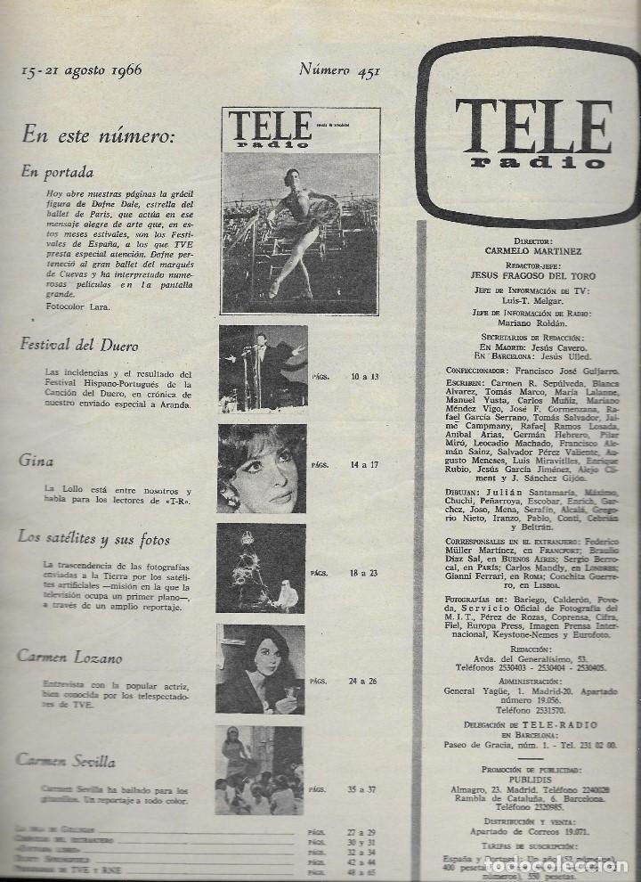 Coleccionismo de Revista Teleprograma: REVISTA TELE RADIO Nº 451, 15-21 AGOSTO 1966, DAFNE DALE, GINA LOLLOBRIGIDA, CARMEN SEVILLA - Foto 2 - 193239601