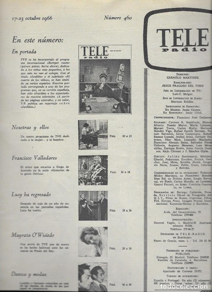 Coleccionismo de Revista Teleprograma: REVISTA TELE RADIO Nº 460, 17-23 OCTUBRE 1966, FOTOS ORIGINALES - Foto 2 - 193270022