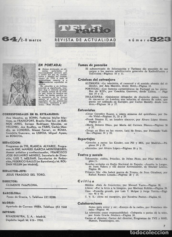 Coleccionismo de Revista Teleprograma: REVISTA TELE RADIO Nº 323, 2-8 MARZO 1964 - Foto 2 - 193360488