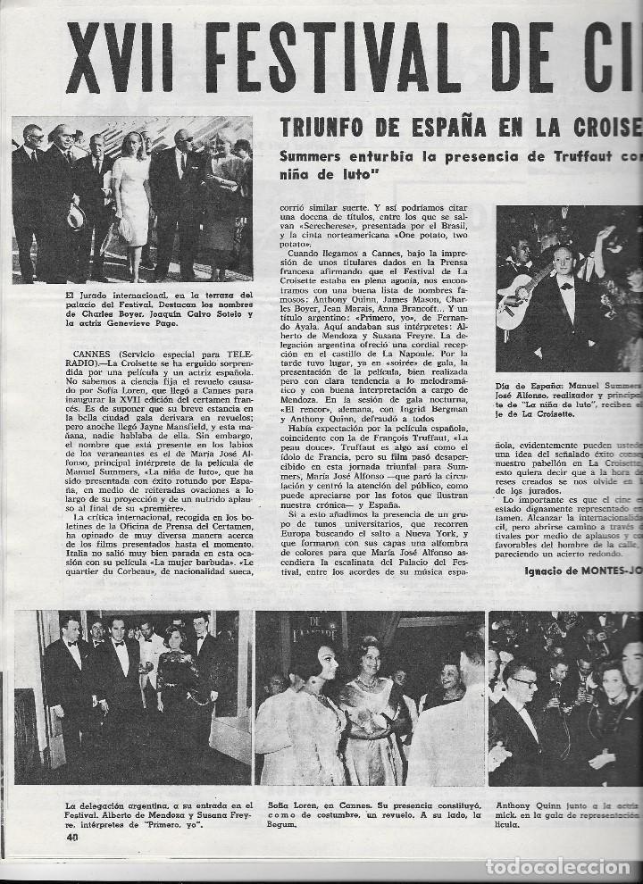 Coleccionismo de Revista Teleprograma: REVISTA TELE RADIO Nº 334, 18-24 MAYO 1964, EN PAGINAS INTERIORES FESTIVAL DE CINE DE CANNES - Foto 2 - 193551207