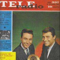 Coleccionismo de Revista Teleprograma: REVISTA TELE RADIO Nº 337, 8-14 JUNIO 1964, CESAR COSTA Y TITO MORA. Lote 193552162