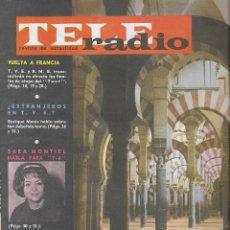 Coleccionismo de Revista Teleprograma: REVISTA TELE RADIO Nº 339, JUNIO 1964, MEZQUITA DE CORDOBA, TOUR DE FRANCIA Y SARA MONTIEL. Lote 193552587