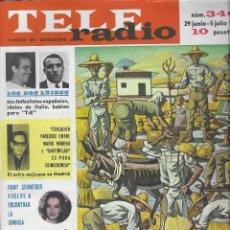 Coleccionismo de Revista Teleprograma: REVISTA TELE RADIO Nº 340, 29 JUNIO - 5 JULIO 1964, CANTINFLAS Y ROMY SCHNEIDER. Lote 193553177