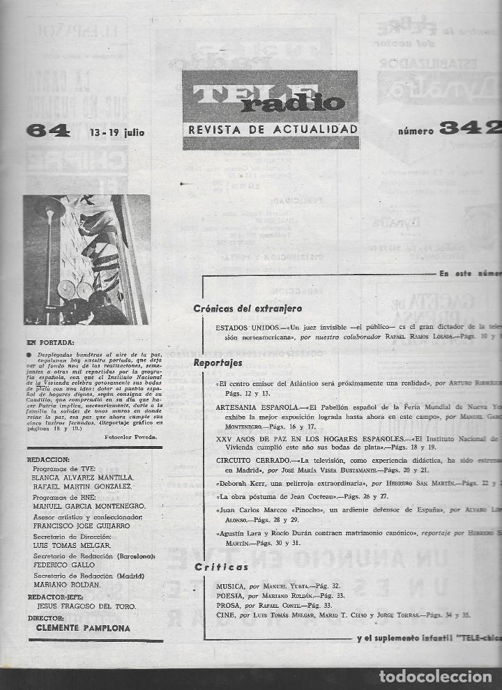 Coleccionismo de Revista Teleprograma: REVISTA TELE RADIO Nº 342, 13-19 JULIO 1964. - Foto 2 - 193554023