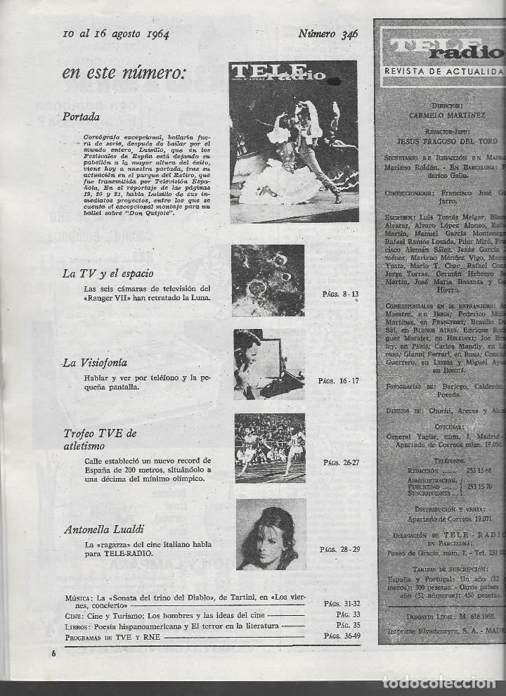 Coleccionismo de Revista Teleprograma: REVISTA TELE RADIO Nº 346, 10-16 AGOSTO 1964. - Foto 2 - 193612605