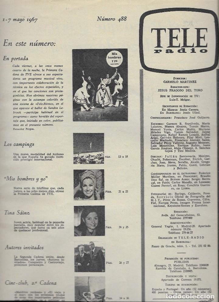 Coleccionismo de Revista Teleprograma: REVISTA TELE RADIO Nº 488, 1-7 MAYO 1967, TELE RITMO - Foto 2 - 194148385