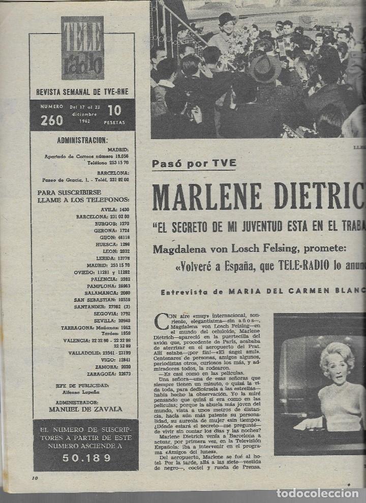 Coleccionismo de Revista Teleprograma: REVISTA TELE RADIO Nº 260, NURIA TORRAY, MARLENE DIETRICH, JOHNNY HALLYDAY EN PAGINAS INTERIORES, - Foto 2 - 196750551