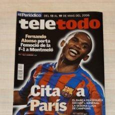 Coleccionismo de Revista Teleprograma: REVISTA TELETODO. FERNANDO ALONSO. FUTBOL CLUB BARCELONA PARÍS. Lote 203005543