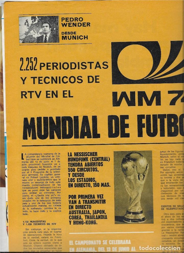 Coleccionismo de Revista Teleprograma: REVISTA TELE RADIO Nº 856, MUNDIAL DE FUTBOL 1974, CIRCO TVE, OMAR SHARIF, SALOME - Foto 2 - 206313242