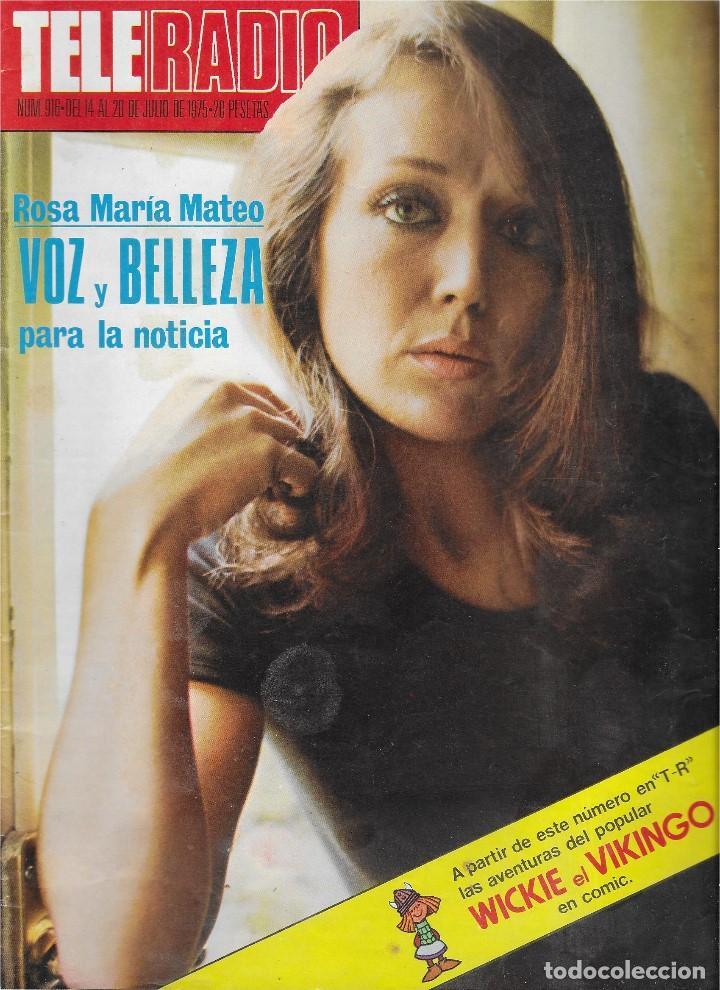 REVISTA TELE RADIO Nº 916,ROSA MARIA MATEO, RAMON SANCHEZ-OCAÑA, JEAN PAUL BELMONDO (Coleccionismo - Revistas y Periódicos Modernos (a partir de 1.940) - Revista TP ( Teleprograma ))