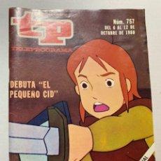 Coleccionismo de Revista Teleprograma: REVISTA TELE PROGRAMA TP 757 RUY EL PEQUEÑO CID. Lote 221563223