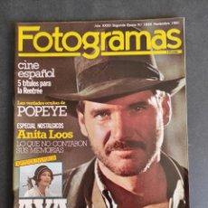 Coleccionismo de Revista Teleprograma: FOTOGRAMAS Nº 1668. NOVIEMBRE 1981. HARRISON FORD INDIANA JONES AVA GARDNER.... Lote 286777878