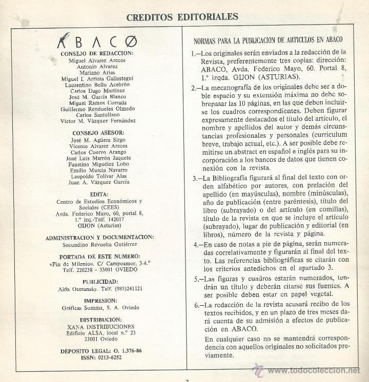 Coleccionismo de Revista Temas Españoles: Ábaco. Revista de Cultura y Ciencias Sociales. Nº 6 EXTRA OVIEDO 1989. CIUDAD 33 RELATOS VER INDICE - Foto 3 - 54000755