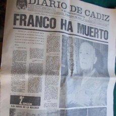 Coleccionismo de Revista Temas Españoles: DIARIO DE CADIZ 20 DE NOVIEMBRE DE 1.975 3 EJEMPLARES DEL MISMO DÍA A DIFERENTES HORAS Y DIFERENTE. Lote 73641611