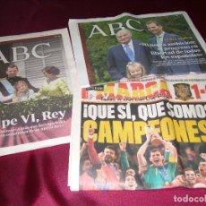 Coleccionismo de Revista Temas Españoles: 3 LOTE-PERIÓDICO ABC-MARCA-MUNDIALES-REYES-. Lote 94177725