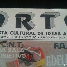 Coleccionismo de Revista Temas Españoles: ORTO. REVISTA CULTURAL DE IDEAS ÁCRATAS. 1992. Lote 95098027