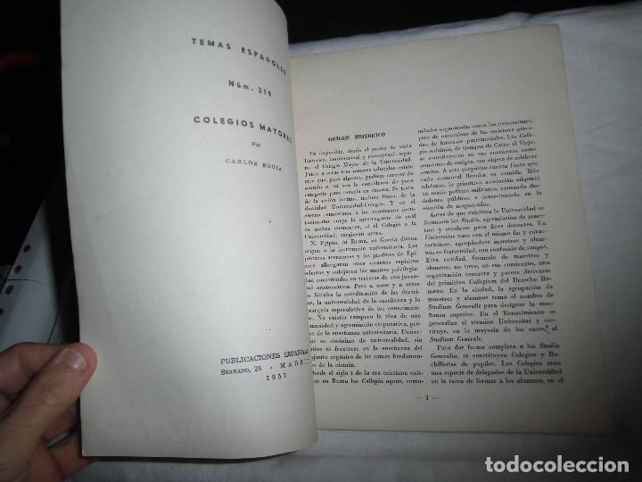 Coleccionismo de Revista Temas Españoles: COLEGIOS MAYORES.-CARLOS EGUIA.TEMAS ESPAÑOLES Nº 319.MADRID 1957 - Foto 2 - 101230019