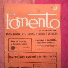 Coleccionismo de Revista Temas Españoles: FOMENTO DE PRODUCCION REVISTA INDUSTRIA COMERCIO FINANZAS INVERSIONES EXTRANJERAS BARCELONA 1971 (4. Lote 113187098