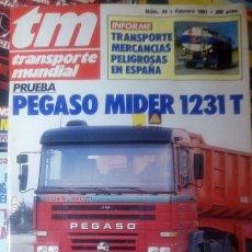 Colecionismo da Revista Temas Españoles: REVISTA TRANSPORTE MUNDIAL Nº 44 AÑO 1991. PRUEBA: PEGASO MIDER 1231 T.. Lote 177377293