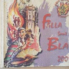 Coleccionismo de Revista Temas Españoles: BURRIANA LLIBRET 2001 FALLA SAN BLAI. Lote 183797430