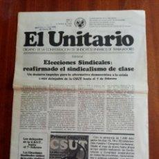 Collectionnisme de Magazine Temas Españoles: PERIODICO EL UNITARIO-ORGANO DE LA CONFEDERACION DE SINDICATOS UNITARIOS DE TRABAJADORES 09/02/1978. Lote 193013158