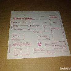 Coleccionismo de Revista Temas Españoles: CARTON RENOVACION DOCUMENTO IDENTIDAD MUJER AÑOS 70. Lote 207288122