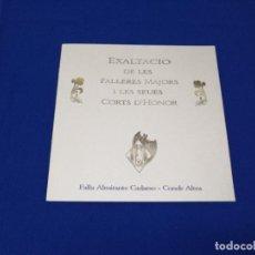 Coleccionismo de Revista Temas Españoles: EXALTACION FALLERAS MAYORES 1999- FALLA ALMIRANTE CADARSO -CONDE ALTEA. Lote 208600886