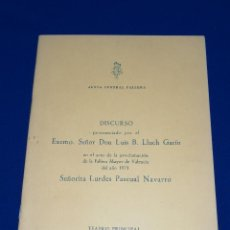 Coleccionismo de Revista Temas Españoles: JUNTA CENTRAL FALLERA DISCURSO D.VICENTE PONS FRANCO PRESTACION FALLERA MAYOR 1979. Lote 214515751