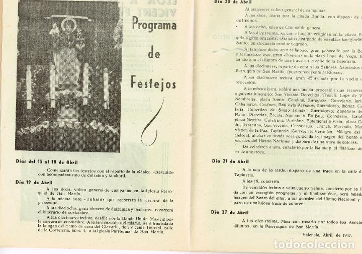 Coleccionismo de Revista Temas Españoles: Programa 1947 Asociación San Vicente Ferrer del Mocadoret - Valencia - Foto 2 - 222168322