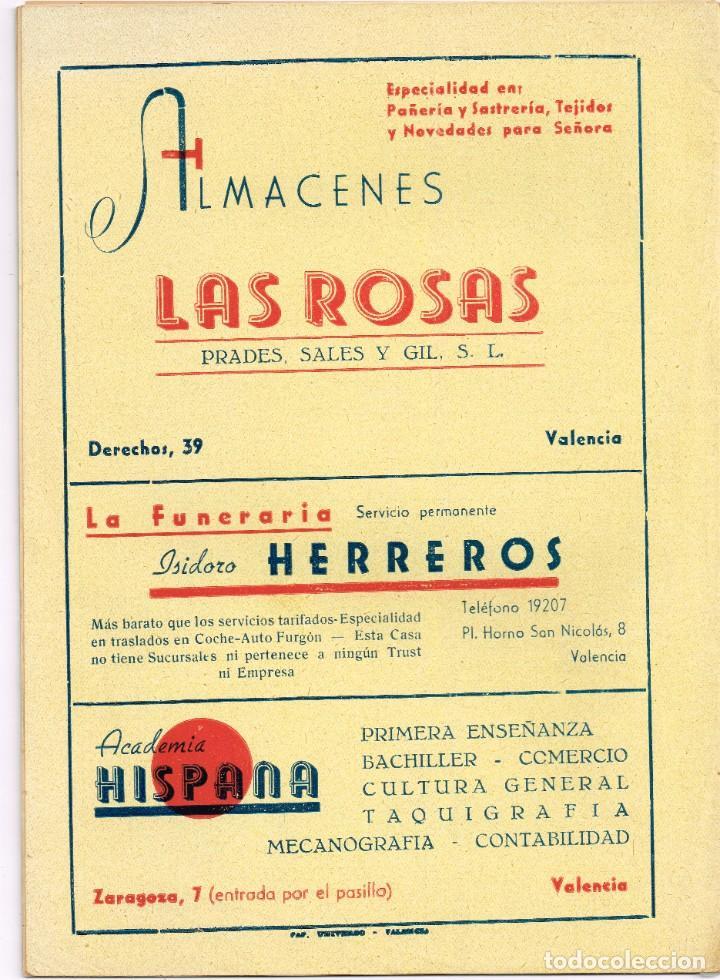 Coleccionismo de Revista Temas Españoles: Programa 1947 Asociación San Vicente Ferrer del Mocadoret - Valencia - Foto 4 - 222168322